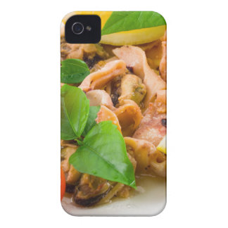 Salad of blanched pieces of seafood on a plate iPhone 4 cover