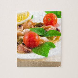 Salad of blanched pieces of seafood on a plate jigsaw puzzle