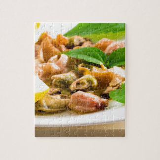 Salad of blanched seafood on a white plate jigsaw puzzle