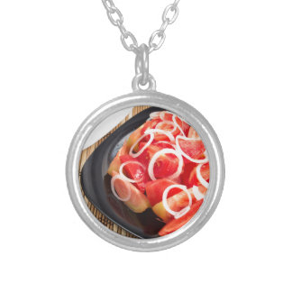 Salad of red and yellow tomato silver plated necklace
