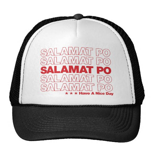 """Salamat Po """"Thank You"""" Grocery Bag Design - Red Mesh Hats"""