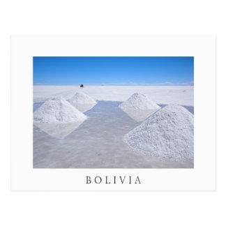 Salar de Uyuni salt flats white border postcard
