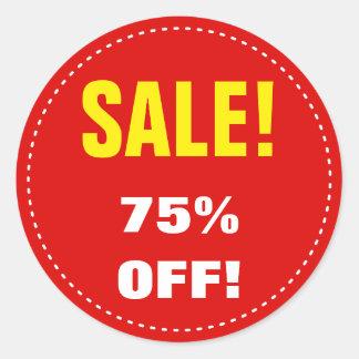 """""""SALE!"""" """"75% OFF!"""" Sale Round Sticker"""