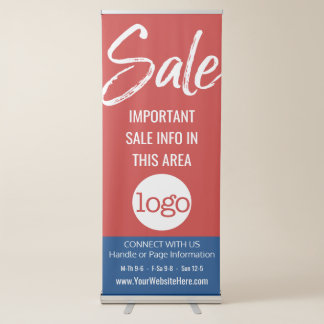 Sale Advertisement - Add Logo and Details Red Blue Retractable Banner