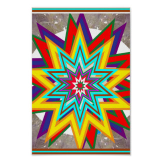 SALE Art Abstract STAR Chakra Symbol Decorations Poster