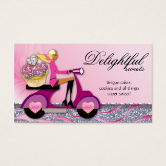 SALE Bakery Business Card Glitter Cupcake Scooter