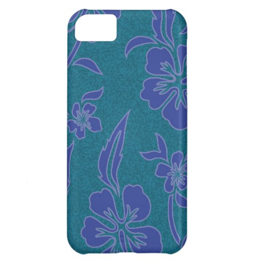 SALE - Blue on Grey HIbiscus Exotic iPhone 5 Case