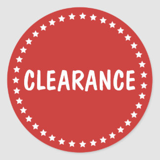 Sale Clearance Retail White Stars Classic Round Sticker