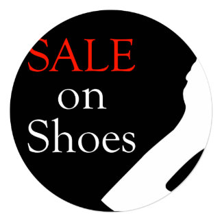 Sale on shoes with silhouette of a shoe 13 cm x 13 cm square invitation card