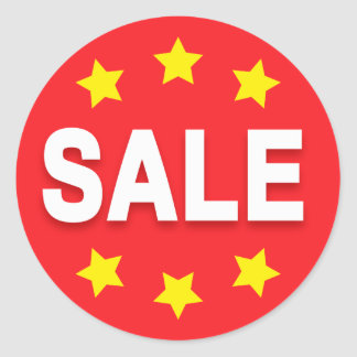 Sale retail stickers with stars, red white yellow