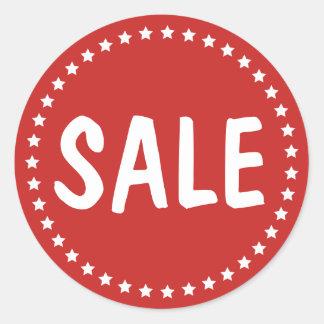Sale Retail White Stars Classic Round Sticker