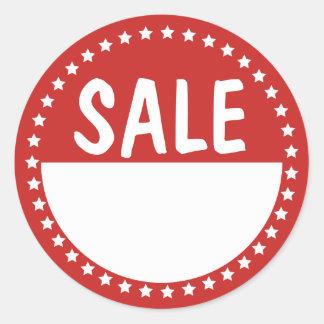 Sale Retail White Stars Writable Classic Round Sticker