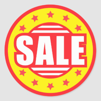 Sale retro red and yellow retail discount stickers