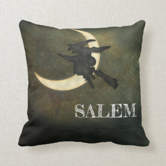 Salem Mass. Witch flying on broom throw pillow