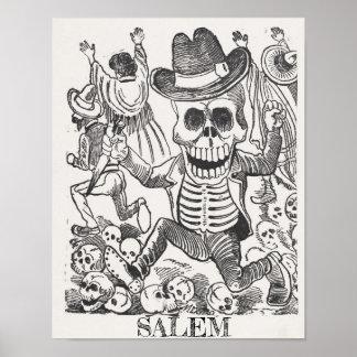 Salem Massachusetts Skull Occult Poster