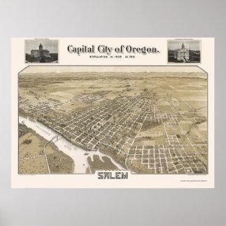 Salem, OR Panoramic Map - 1905 Poster