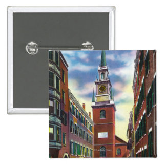 Salem Street View of Old North Church Bldg 15 Cm Square Badge
