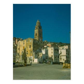 Salerno, church and town postcard