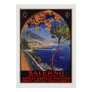 Salerno Italy vintage summer travel ad Poster