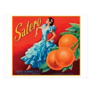 Salero Vintage Crate Label - Dancer Postcard