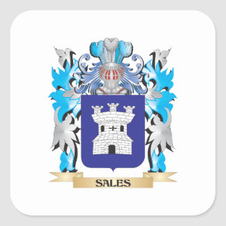 Sales Coat of Arms - Family Crest Square Stickers