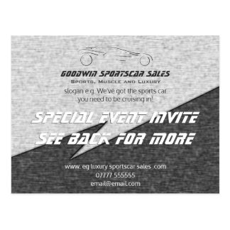 Sales Event Invite - metal effect, sportscar logo Postcard