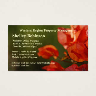 Sales or Administrative Poppy Colored Flowers on G Business Card