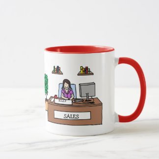 Sales team gift - customizable cartoon mug