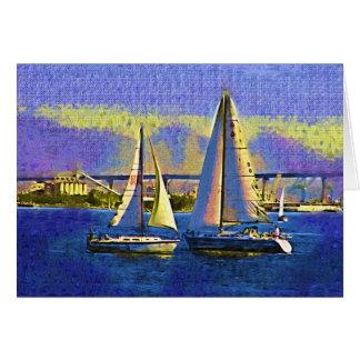 Saliboats, San Diego Harbor, California Greeting Card