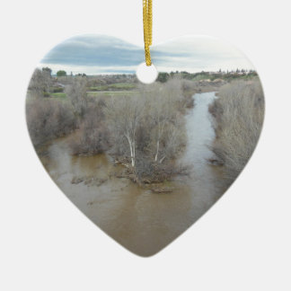 Salinas River North of Veterans Memorial Bridge Ceramic Ornament