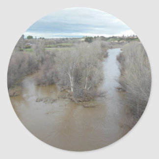 Salinas River North of Veterans Memorial Bridge Classic Round Sticker