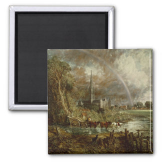 Salisbury Cathedral From the Meadows, 1831 Square Magnet