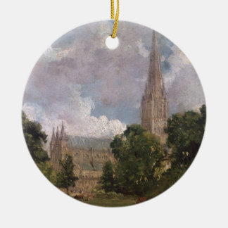 Salisbury Cathedral from the south west Round Ceramic Decoration