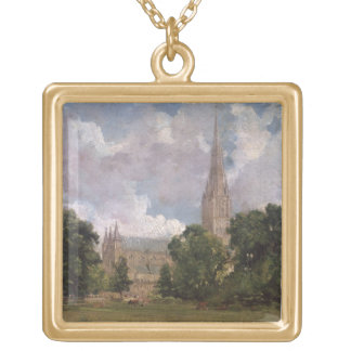Salisbury Cathedral from the south west Square Pendant Necklace