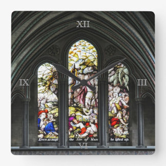 Salisbury Cathedral Stained Glass Window Square Wall Clock