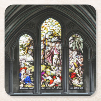 Salisbury Cathedral Transept Stained Glass Window Square Paper Coaster