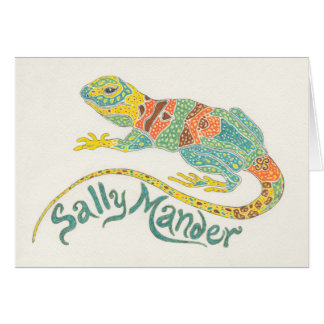 Sally Mander the Lizard Notecard