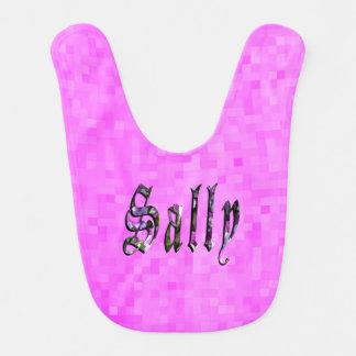 Sally, Name, Logo, Baby Girls Pink Bib. Bib