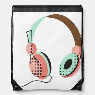 Salmon and Mint HeadPhone Drawstring Bag