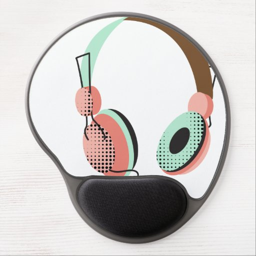 Salmon and Mint HeadPhone Gel Mouse Mat