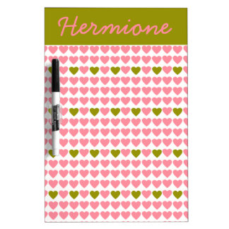 Salmon and Olive Hearts Personalized Dry Erase Board