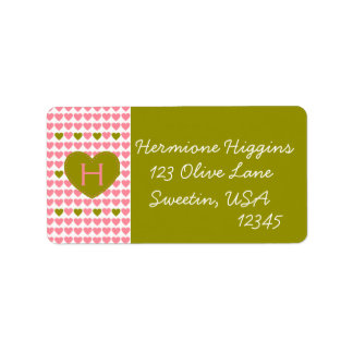 Salmon and Olive Hearts Personalized Address Label