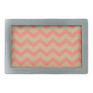 Salmon and Tan Chevron Rectangular Belt Buckle