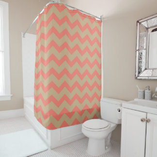 Salmon and Tan Chevron Shower Curtain