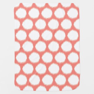 Salmon Asian Moods Ikat Dots Baby Blanket