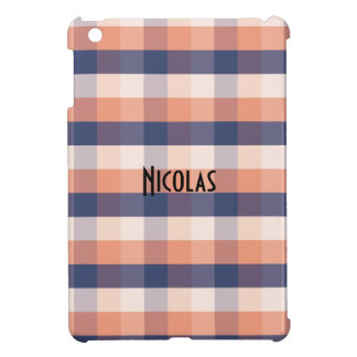 Salmon Blue Beige Gingham Pattern Custom Name iPad Mini Cases