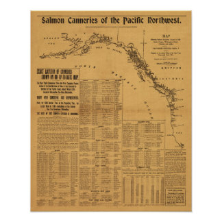 Salmon Canneries of the Pacific Northwest Map Poster
