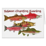Salmon Chanting Evening Greeting Card