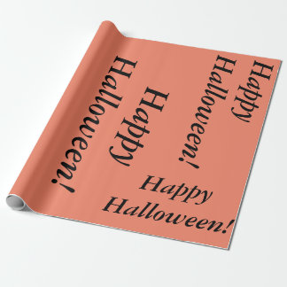 salmon colored Happy Halloween cursive script simp