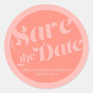 Salmon Coral Flourish Typography Save the Date Classic Round Sticker